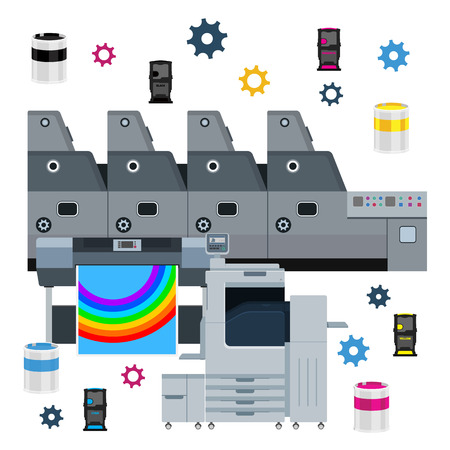color printer: Printing equipment. Color printer. Cyan, magenta, yellow, black pant. Color Ink and cartridge. Paper for laser and ink print. Copy and scan. Laser, ink, offset machine.  Vector press industry design with color gears. Illustration