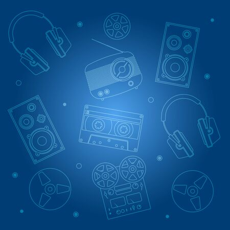 audio equipment: Music devices on dark blue background. Audio equipment icons set. Sound accessories vector collection. Illustration