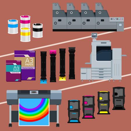 imprenta: Equipo de impresión. Impresora en colores. Cian, magenta, amarillo, pantalón negro. Color de tinta y el cartucho. Papel para láser y tinta de impresión. Copiar y escanear. Láser, tinta, máquina offset. Vector de prensa industria.