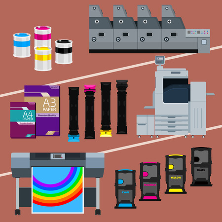 digital printing: Printing equipment. Color printer. Cyan, magenta, yellow, black pant. Color Ink and cartridge. Paper for laser and ink print. Copy and scan. Laser, ink, offset machine.  Vector press industry.