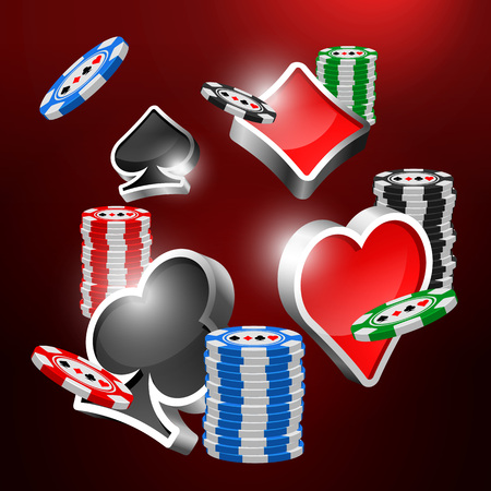 three dimension: Gambling objects vector design. Poker chips. Casino elements. Shine three dimension card suits. Label, sign
