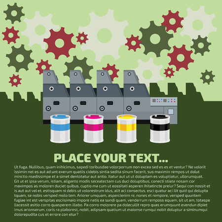 4 color printing: Offset machine. Color paint for print. Cyan, magenta, yellow, black colors. White paper for print. Press equipment. Vector printing design with gears. Info graphics elements. Label details. Illustration