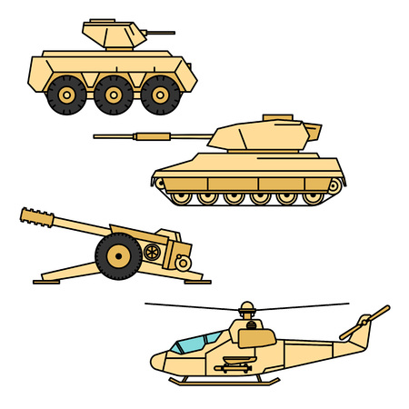 armored: Military vector set. Outline cannon, helicopter, armored troop-carrier and tank design. Weapon icon, pictogram collection.