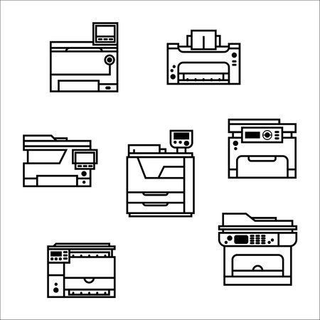 Vector printer icons set. Printing equipment. Color printer. Copy, scan and laser print.  Press industry.