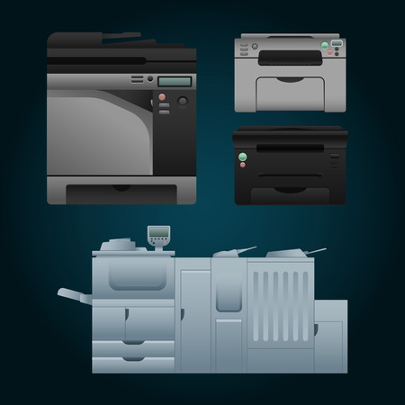 multifunction printer: Set of color laser printer in vector. Digital print machine design. Color copy and printing equipment. Office hardware collection. Big press machine and small copier for business. Illustration