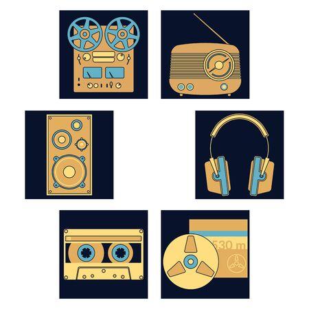 audio equipment: Audio equipment icons set. Sound accessories vector collection.