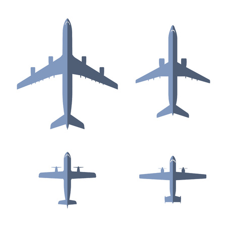 liners: Airplane icons collection. Blue aircraft shapes set. Jet and propeller airliners. Blue background with vector liners. Black line passenger airplane illustration.