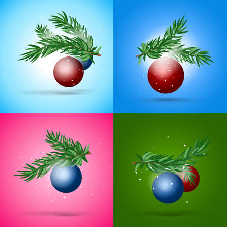 fir branch: Christmas and New year composition collection. Fir branch and glossy ball design. Illustration