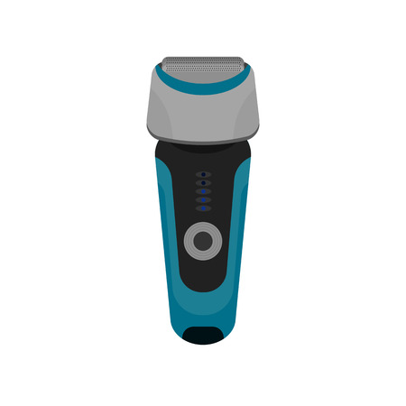 Modern shaver. Men accessories. Vector equipment for face shave. Sharpen blade. Electronic display and button. Beard and mustache remover.