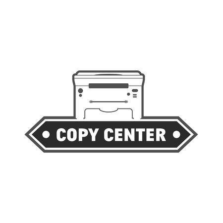 gray scale: et of vector icon with printer. Gray scale copy and print labels collection.