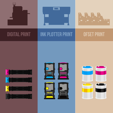 color printer: Printing equipment. Color printer. Cyan, magenta, yellow, black pant. Color Ink and cartridge. Copy and scan. Laser, ink, offset machine.  Vector press industry.