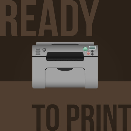 multifunction printer: Vector laser printer on background with sample text.