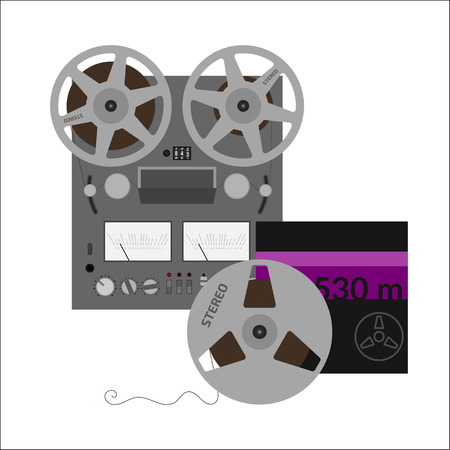 hi fi system: Reel tape recorder vector flat design. Retro audio device. Hi-fi stereo sound system.
