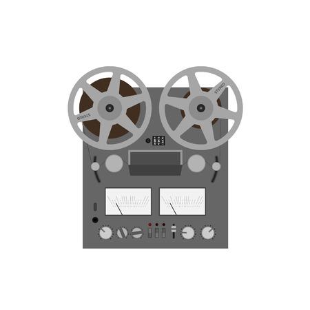 hi fi: Reel tape recorder vector flat design. Retro audio device. Hi-fi stereo sound system.
