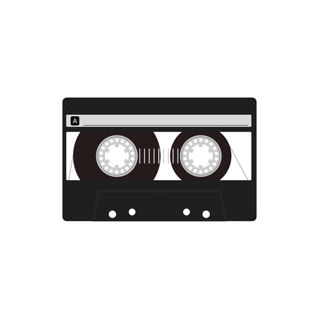 analogical: Vector flat audio cassette design.