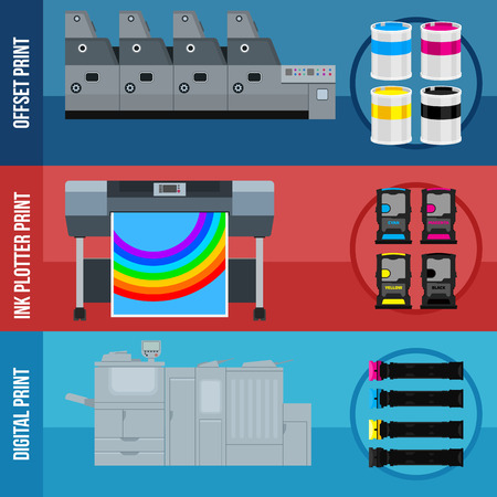 Printing equipment. Color printer. Cyan, magenta, yellow, black pant. Color Ink and cartridge. Copy and scan. Laser, ink, offset machine. Vector press industry.