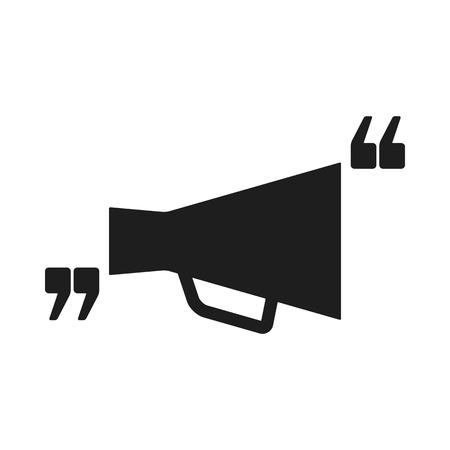 comma: Vector icon with quote and megaphone. Black mark and bullhorn symbol. Feedback form template. Business dialog pictogram. Isolated comma design.