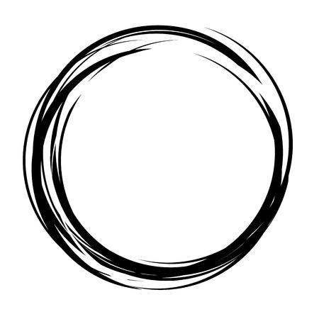 Vector astratto cerchio forma. disegnato a mano linee di disegno. forma rotonda nero. cornice in bianco e nero. disegno ictus isolato. Twist curve contorno illustrazione. Vettoriali