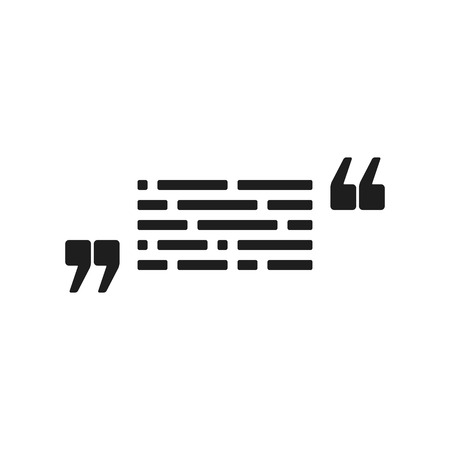 comma: Vector icon with quote and text. Black mark and text symbol. Feedback form template. Business dialog pictogram. Isolated comma design.