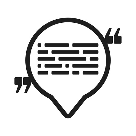 Vector Icon With Quote And Speech Balloon Black Mark And Text