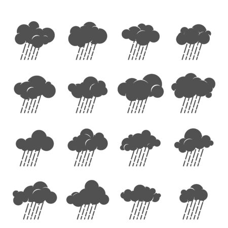 the atmosphere: Vector cloud icon set. Cloud symbol collection. Grayscale clouds with rain. Design for web and print. Atmosphere pictogram. Silhouette of rainy cloud. Illustration