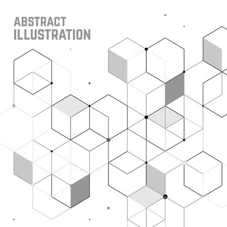 Fondo abstracto del vector con la célula cubo. ilustración de la tecnología moderna con malla cuadrada. la abstracción geométrica digital con líneas y puntos.