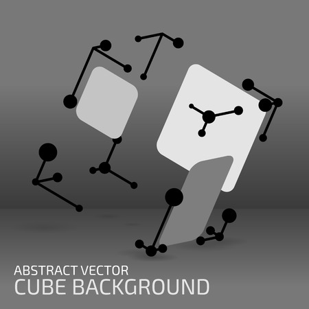 hexahedron: Digital abstract shape. Cube figure with points, shapes and lines. Modern technology illustration for web and print design. Polygonal structure. Tech element concept. Wireframe form. Vector mesh.