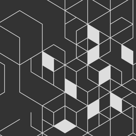 hexahedron: Vector abstract background with cube cell. Modern technology illustration with square mesh. Digital geometric abstraction with thin lines.