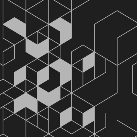 hexahedron: Vector abstract background with cube cell. Modern technology illustration with square mesh. Digital geometric abstraction with lines and points. Illustration