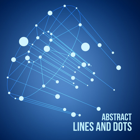 technical background: Vector connect circle lines illustration. Outline tech background. Business network abstract concept. Technology and digital backdrop with mesh. Stripes, dots and point design. Illustration