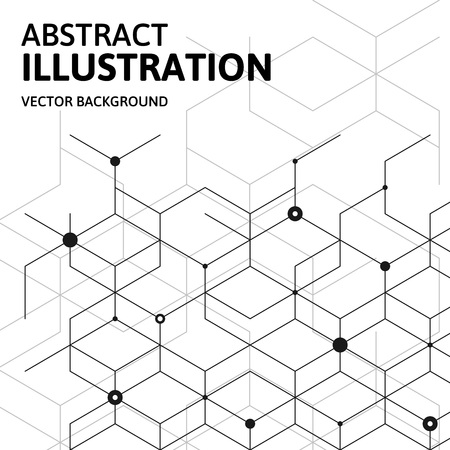 Vector abstract cell background. Modern technology illustration with technology mesh. Digital geometric abstraction with lines and points. Illusztráció