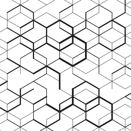 hexahedron: Vector abstract cell background. Modern technology illustration with technology mesh. Digital geometric abstraction with lines and points. Illustration