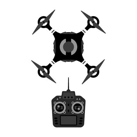 Vector drone and remote controle device illustration. Quadrocopter top view. Banco de Imagens - 64691266