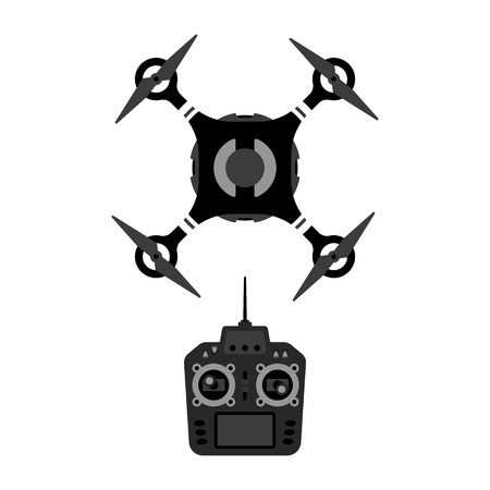 remote view: Vector drone and remote controle device illustration. Quadrocopter top view.