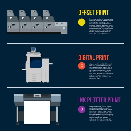 Copy and polygraph equipment. Business press machines. Color media collection. Color Ink and cartridge. Paper for laser and ink print. Copy and scan. Laser, ink, offset machine. Banner template. Illustration