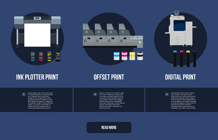 Copy and polygraph equipment. Business press machines. Color media collection. Color Ink and cartridge. Paper for laser and ink print. Copy and scan. Laser, ink, offset machine. Banner template.