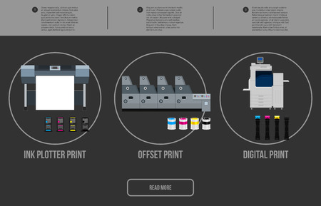 Copy and polygraph equipment. Business press machines. Color media collection. Color Ink and cartridge. Paper for laser and ink print. Copy and scan. Laser, ink, offset machine. Banner template. Illusztráció