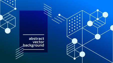Fondo de cuadros abstractos de vector. Ilustración de la tecnología moderna con malla cuadrada. Abstracción geométrica digital con líneas y puntos. Cube cell. Ilustración de vector