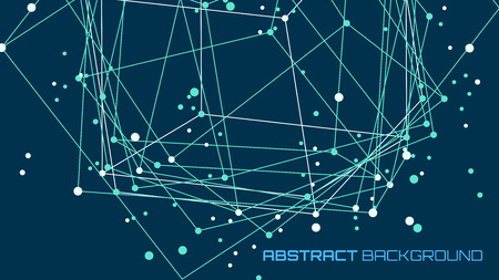 abstract futuristic background. Modern technology illustration with square mesh. Digital geometric abstraction with lines and points. Cube cell. Business information layout.