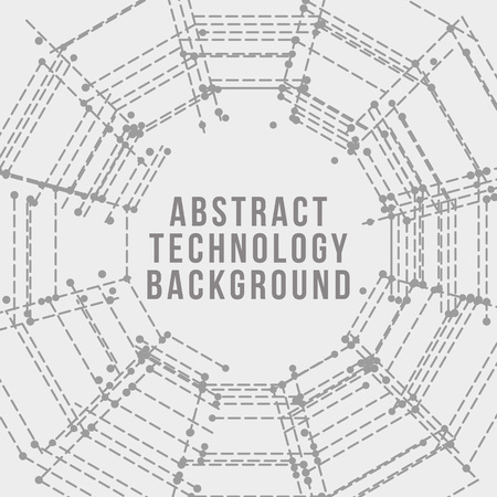 Technology background. Abstract digital illustration.  Electronic round design. Modern abstraction lines and points. Illusztráció