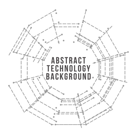 Technology background. Abstract digital illustration. Electronic round design. Modern abstraction lines and points.