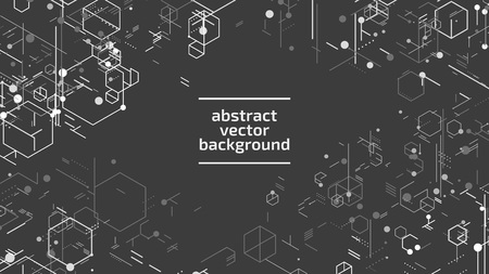 Vector abstract boxes background. Modern technology illustration with square mesh. Digital geometric abstraction with lines and points. Cube cell. Illusztráció