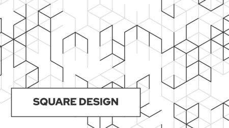 Abstract vector background. Modern geometric pattern. Black square lines minimal design. Futuristic digital backdrop. High tech illustration.