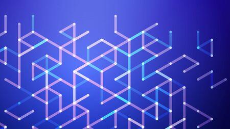 Abstract vector background. Polygon vector illustration. Technology futuristic design. Blue cube shape pattern. Geometric lines. Digital backdrop. Ilustrace
