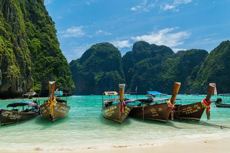 Longtail Boats at Maya Bay, Koh Phi Phi Le, Thailand