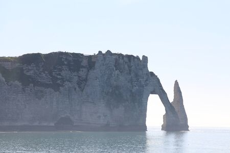 famous: Famous rock in Etretat - France Stock Photo