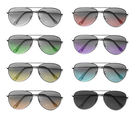 aviator: Isolated Collage of Aviator Sunglasses with Colorful Lenses Stock Photo