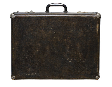 Isolated Scratched Vintage Brown Suitcase sur un fond blanc Banque d'images - 62119620