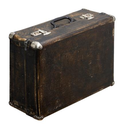 Isolated Scratched Vintage Brown Suitcase sur un fond blanc Banque d'images - 62119624