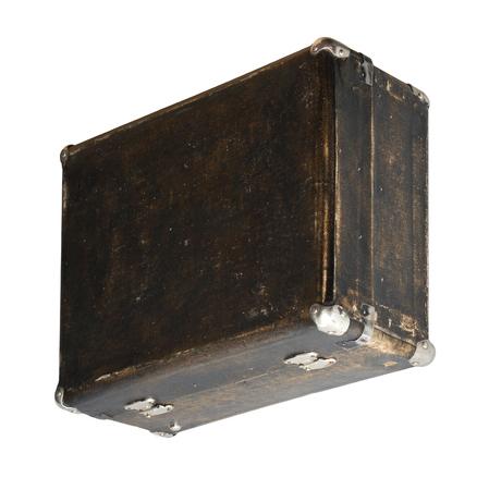 Isolated Scratched Vintage Brown Suitcase sur un fond blanc Banque d'images - 62119627